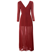 Buy True Decadence Sheer Slit Maxi Dress, Burgundy Online at johnlewis.com