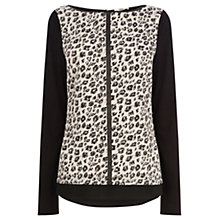 Buy Oasis Smudge Print Woven Front Top, Black and White Online at johnlewis.com