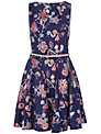 Closet Floral Flared Dress, Navy