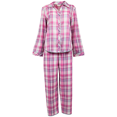Cyberjammies Isabel Check Pyjama Set, Pink / White