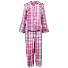 Buy Cyberjammies Isabel Check Pyjama Set, Pink / White Online at johnlewis.com