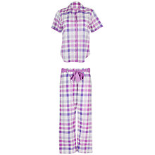 Buy Cyberjammies Ayla Check Short Sleeve Pyjama Set, Purple Online at johnlewis.com