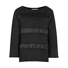 Buy Reiss Victorie Satin Contrast Jumper, Black Online at johnlewis.com