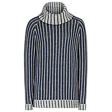 Buy Reiss Toria Textured Roll Neck Jumper, Cream/Navy Online at johnlewis.com
