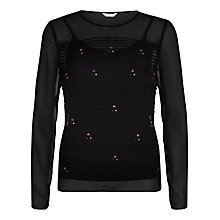 Buy Kaliko Sheer Beaded Top, Black Online at johnlewis.com