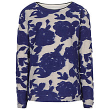 Buy Reiss Rose Textured Floral Jumper, Cobalt Online at johnlewis.com