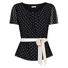 Buy Jacques Vert Spot Pleat Belted Top, Black Online at johnlewis.com