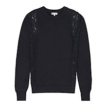 Buy Reiss Chaser Lace Embellished Jumper, Midnight Online at johnlewis.com