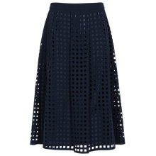 Buy Reiss Kayan Flared Laser Cut Midi Skirt, Blue Passion/Midnight Online at johnlewis.com