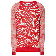 Buy Reiss Lyla Lightweight Print Jumper, Red/Cream Online at johnlewis.com