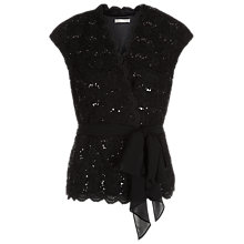 Buy Jacques Vert Sparkle Lace Top, Black Online at johnlewis.com