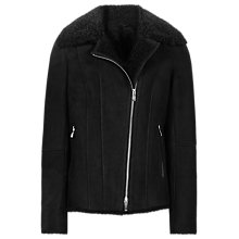 Buy Reiss Zaina Shearling Short Leather Jacket, Black Online at johnlewis.com