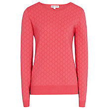 Buy Reiss Aggie Textured Crop Knit, Deep Flamingo Online at johnlewis.com