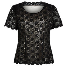 Buy Jacques Vert Sequin Lace Top, Multi Black Online at johnlewis.com