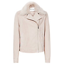 Buy Reiss Clemence Cropped Leather Biker Jacket, Pale Pink Online at johnlewis.com