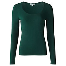 Buy Jigsaw Double Front Scoop Tee, Dark Green Online at johnlewis.com