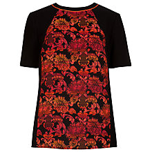 Buy Ted Baker Jacquard Front Panel Top, Black/Red Online at johnlewis.com