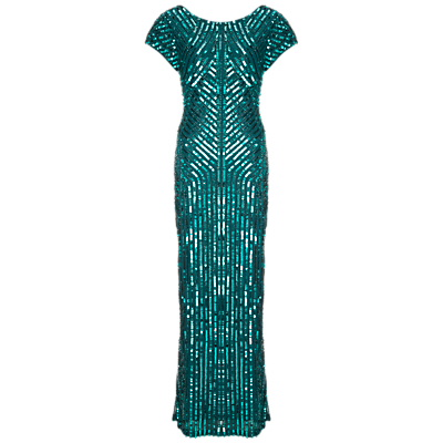 Gina Bacconi Beaded Column Dress, Green