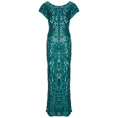 Gina Bacconi Beaded Column Dress, Green