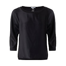 Buy Jigsaw Silk Front Batwing Top, Black Online at johnlewis.com