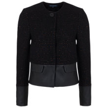 Buy French Connection Tweed Collarless Jacket, Black Multi Online at johnlewis.com