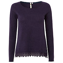 Buy White Stuff Lace Hem Jumper, Purple Fable Online at johnlewis.com