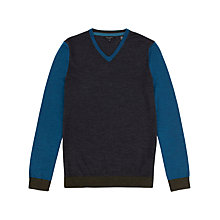Buy Ted Baker Blokvee V-Neck Jumper, Charcoal/Blue Online at johnlewis.com