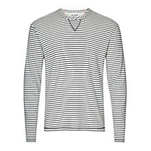 Buy HYMN Wayne Long Sleeve Striped T-Shirt, Ivory/Navy Online at johnlewis.com