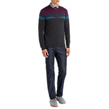 Buy Ted Baker Farlie Patterned Merino Wool Jumper, Charcoal Online at johnlewis.com
