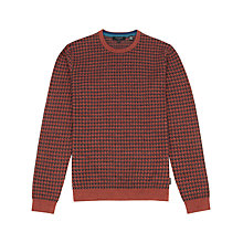 Buy Ted Baker Humbie Dogtooth Pattern Jumper, Dark Orange Online at johnlewis.com