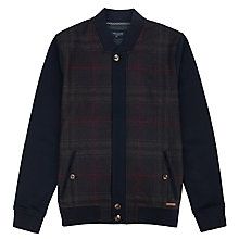 Buy Ted Baker Azbak Checked Jersey Bomber, Navy Online at johnlewis.com