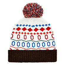 Buy HYMN Cary Fair Isle Beanie Hat, White/Multi Online at johnlewis.com