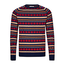 Buy HYMN Javier Large Fair Isle Jumper, Navy Online at johnlewis.com