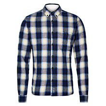 Buy HYMN Robbins Heavy Brushed Check Shirt, Blue/Ivory Online at johnlewis.com