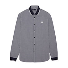 Buy Fred Perry Gingham Knitted Collar Shirt, Blue Granite Online at johnlewis.com