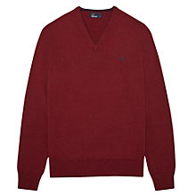 Buy Fred Perry Wool and Cotton Blend V-Neck Jumper, Rosso Red Online at johnlewis.com