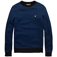 Buy Lyle & Scott Puppytooth Crew Neck Jumper, Black/Blue Online at johnlewis.com