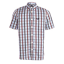 Buy Fred Perry Herringbone Check Short Sleeve Shirt, Port Online at johnlewis.com