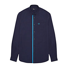 Buy Fred Perry Flat Knit Placket Shirt, Navy Online at johnlewis.com