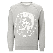 Buy Diesel Logo Print Sergej Sweatshirt, Grey Online at johnlewis.com