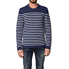 Buy Diesel K-Boletus Breton Stripe Crew Neck Jumper, Navy Online at johnlewis.com