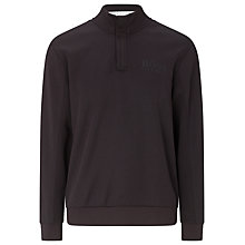Buy BOSS Green Concealed Zip Funnel Neck Jumper, Black Online at johnlewis.com