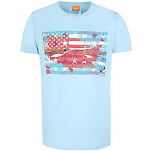 Buy BOSS Orange Temyo Flag Print T-Shirt, French Blue Online at johnlewis.com