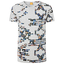 Buy BOSS Orange Tillman Print T-Shirt, Grey Online at johnlewis.com