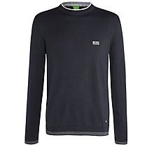 Buy BOSS Green Cotton Blend Crew Neck Jumper, Charcoal Online at johnlewis.com