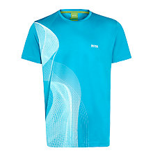 Buy BOSS Green Tarsu Crew Neck T-Shirt, Turquoise Online at johnlewis.com