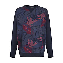 Buy BOSS Green Salbor Palm Print Sweatshirt, Navy Online at johnlewis.com