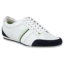Buy BOSS Victoire LA Leather Trainers, White Online at johnlewis.com
