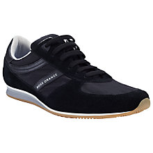 Buy BOSS Orange Adinous Leather Trainers, Black Online at johnlewis.com
