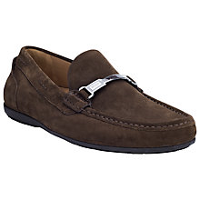 Buy BOSS Flarro Suede Moccasins, Dark Brown Online at johnlewis.com